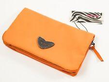 New Roberto Cavalli Freedom Collection Orange Nylon & Leather Large Wallet
