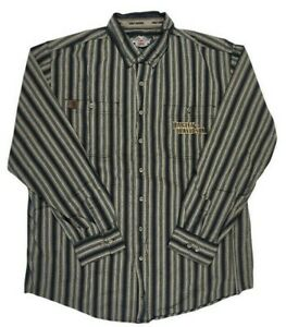 Harley Davidson Mens XL Tall Button Down L/S Embroidered Striped Casual Shirt