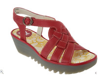 Fly London Rini Red Leather Braided Front Wedge Sandal Size 39 8-8.5