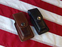 J&J LEATHER 45 DOUBLE STACK SINGLE MAGAZINE CLOSED TOP CARRIER HOLSTER BELT CLIP