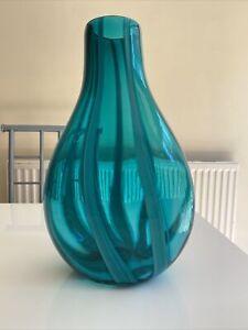 Turquoise Art Glass Vase Large Hardly Used