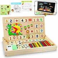 lenbest Magnetic Wooden Maths Puzzle Box, Montessori Toys Wooden Number Blocks