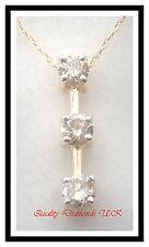 GENUINE 1/2CT THREE DIAMOND STICK PENDANT YELLOW GOLD