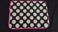 laptop tablet  computer bag black white polka dot pink 14 x 11 carrier padded
