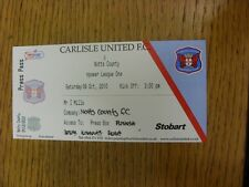 09/10/2010 BIGLIETTO: Carlisle United V Notts County [PRESS Box]. bobfrankandelvis
