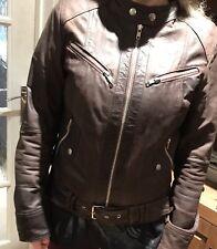 Ladies Brown Leather Jacket Size 10/12