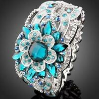 Gorgeous Women Blue Topaz 925 Silver Flower Jewelry Women Wedding Rings Size6-10