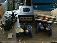 Nintendo GameCube Indigo Purple Console Lot w/ Controller, Memory Card & 3 Games