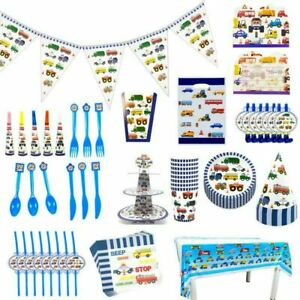 Traffic birthday party plates cups napkins tablecover, cars bus lorry fire truck