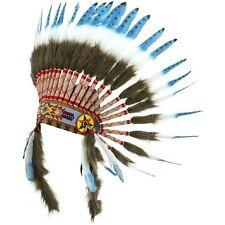 INDIEN COIFFE CHEF PLUMES Capot amérindien américain GRINGO bleu noir pointillée