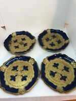 """Vintage Coasters Set of 4 Florentine Blue Gold Wood MCM Made in Italy 4"""""""