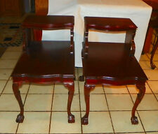 Pair of Mid Century Carved Mahogany Step End Tables / Side Tables Mersman (T280)