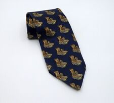 LL Bean Freeport Maine Silk Tie Duck Boots Blue Background  Made in US