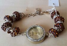 Figaro Couture Women's Beaded Bracelet Watch Gold/Topaz