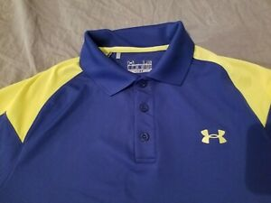 Mens Under Armour Polo Shirt L Large Blue Yellow Athletic Golf