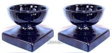 Black Amethyst Glass Candleholders Arts & Craft Style -- Open Ball, Square Stand
