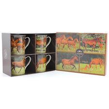 Set Of 4 Horses Animals Style Print Design Ceramic Everyday Coffee Tea Mugs Cups