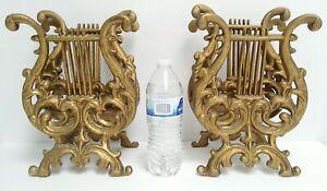 Pair Of Brass Scroll Ornate Harp Magazine Letter Holders w Insert / Divider Rack