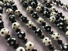 20 LARGE Black & White Polka Dot Lampworked Glass Beads 12mm