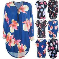 Womens Floral Oversized Lagenlook Ladies Front Zip Up Hi Lo Dipped Hem Baggy Top