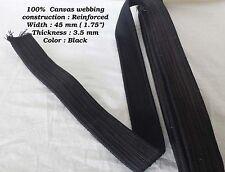 REINFORCED STRONG Canvas Cotton Webbing Belt Fabric Strap Tape 45mm Black 1 MTR