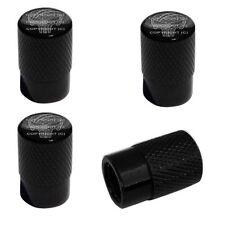 4 Black Billet Aluminum Knurled Tire Air Valve Stem Caps - PLATE SKULL G BL B9W
