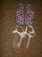 2 PC lot Women stone white bling sz 9/10 sandal shoes thong pink black flip flop