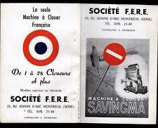 """MONTREUIL-sous-BOIS (93) USINE de MACHINES à CLOUER SAVINGMA """"Société F.E.R.E."""""""