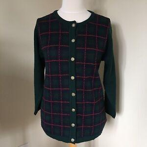 Vintage Edinburgh Tartan Cardigan UK Small Wool Blend Button Up Retro 80s 90s
