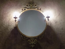 Fine Art Lamps Company 4' round mirror #803155 tole flowers w bouillotte lights