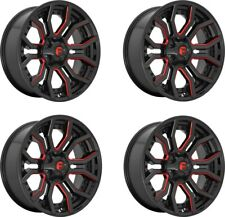 Set 4 20x10 Fuel D712 Rage Black w/Red Tint 6x135 6x5.5 Wheels -18mm w/ Lugs