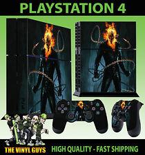 PS4 Piel GHOST RIDER Johnny Blaze FIRE CALAVERA PEGATINA + Pad vinilo Stood