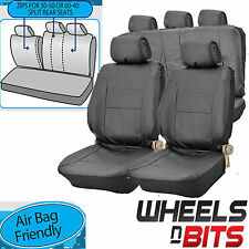 Mitsubishi Pajero UNIVERSAL BLACK PVC Leather Look Car Seat Covers Split Rears