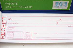 10X Rent receipt Cash Money record book 2 part 50 sets duplicate form Carbonless
