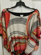 Cato blouson dress XL cap sleeves geometric print orange pink green white black