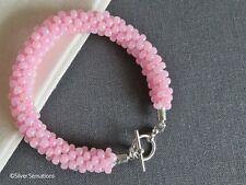 Baby Pink Beaded & Braided Kumihimo Seed Bead Handmade Fashion Bracelet