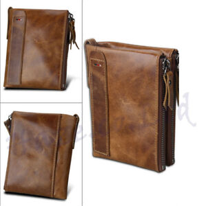 Men RFID Blocking Wallet Small Vintage Crazy Horse Leather Short Purse Kid Gifts