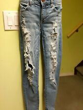 Girls American Eagle outfitters mid-rise jegging ankle Jeans. Torn denim,