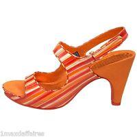 TSUBO INA Sandale FEMME CUIR NEUVE Petit Talon Women Bout Ouvert Escarpin Orange