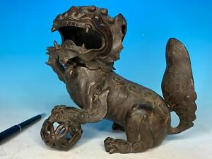 EARLY CHINESE QING PERIOD CARVED BRONZE FOO LION ANTIQUE INCENSE BURNER