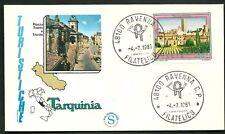 ITALIA BUSTA FILAGRANO TURISTICA 1981 TARQUINIA ANNULLO RAVENNA  FDC