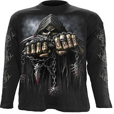 Spiral Direct GAME OVER Long Sleeve T-shirt/Biker/Tattoo/Skull/Horror/Reaper/Top