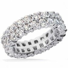 7.20 ct Round Diamond Ring 14k Gold Eternity Double Band Size 7.75 F Si1 0.20 ct