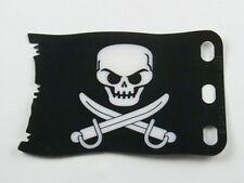 LEGO - Plastic Flag 8 x 5 w/ White Skull & Crossed Cutlasses Pattern - Black