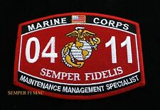 MOS 0411 MAINTENANCE MANAGEMENT SPECIALIST PATCH US MARINES PIN UP USS FMF GIFT