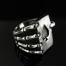 SKULL Hand Lucky Finger Poker King Ace of Spades Silver Ring for Harley TR134