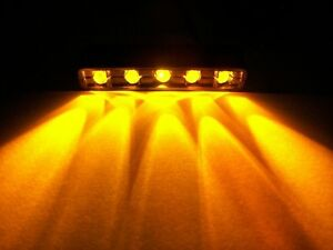 AMBER /Orange 5 LED[Chrome]MOTORCYCLE/CAR/BOAT/HOME POD ACCENT LIGHT BRIGHT 12V