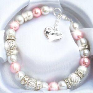 Personalised Bead Charm Bracelet Gift Birthday Wedding Bridesmaid