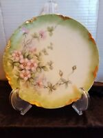 Antique Hand Painted Plate Pink Apple Blossoms Haviland France Limoges