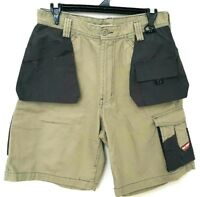 Hard Yakka Mens Khaki Black Tradie Work Short Cargo Pants Size 77R